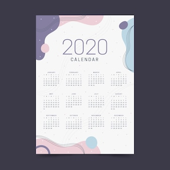 新年2020年カレンダーパステルカラー