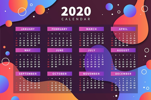 抽象的な2020カレンダーテンプレート