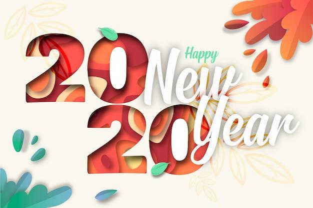 Красочный новогодний фон 2020 в бумажном стиле