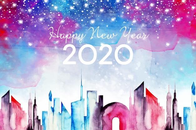 Акварель новый год 2020 фон