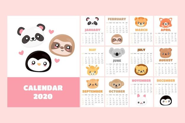 Симпатичный шаблон календаря 2020
