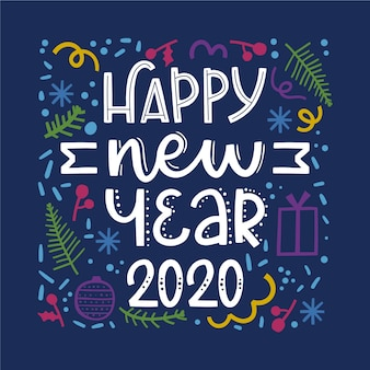 暗い青色の背景に新年あけましておめでとうございます2020をレタリング