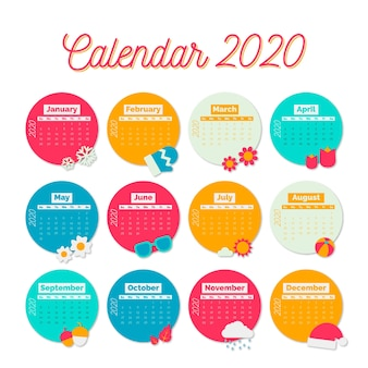 Красочный шаблон календаря на 2020 год