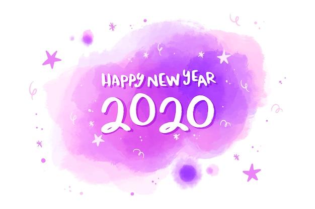 水彩新年2020年背景コンセプト