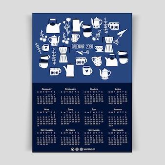 キッチン用品、カトラリーとフラットなデザインカレンダー2020テンプレート