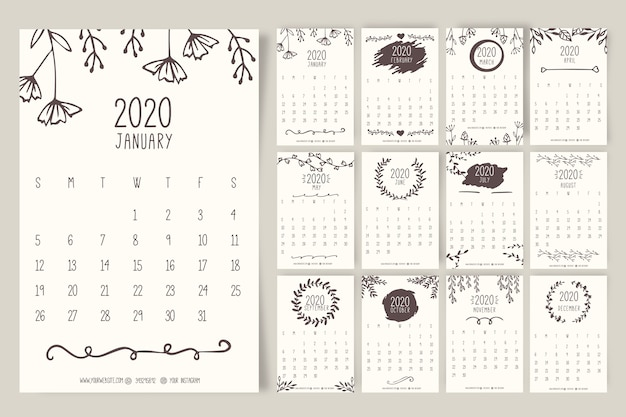 Ручной обращается цветочный календарь 2020 шаблон