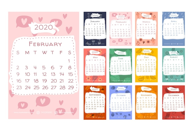 Календарь 2020 года с сезонными элементами
