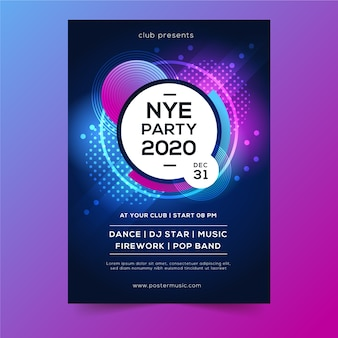 ドットと泡抽象新年2020年ポスター