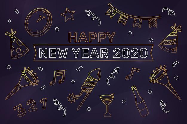 アウトラインスタイルの新年2020年背景概念