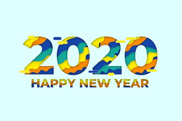 紙のスタイルで新年2020年背景概念