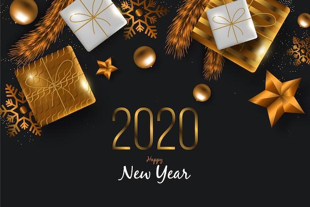 現実的な金色の装飾と新年2020年の背景