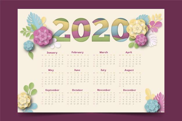Цветочный шаблон календаря 2020