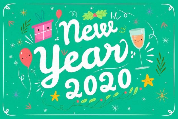 手描き新年2020年の背景