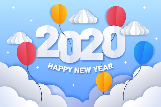 Новый год 2020 фон в бумажном стиле
