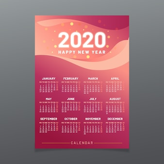 カラフルな2020年カレンダーテンプレート