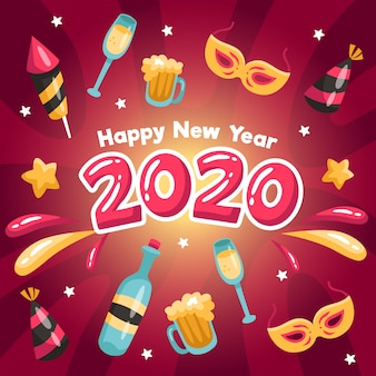 Плоский дизайн новый год 2020 фон концепция