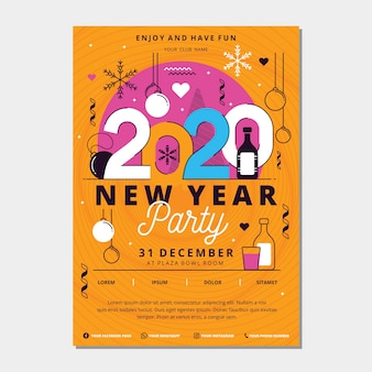 Шаблон плаката для вечеринки новый год 2020 в плоском дизайне