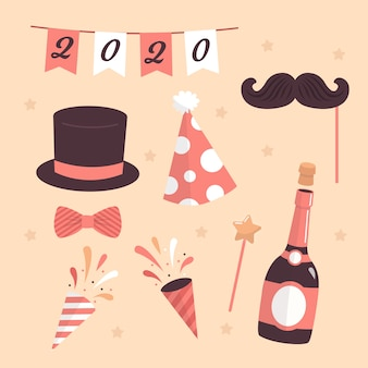 新年2020年のシャンパンとパーティーハット