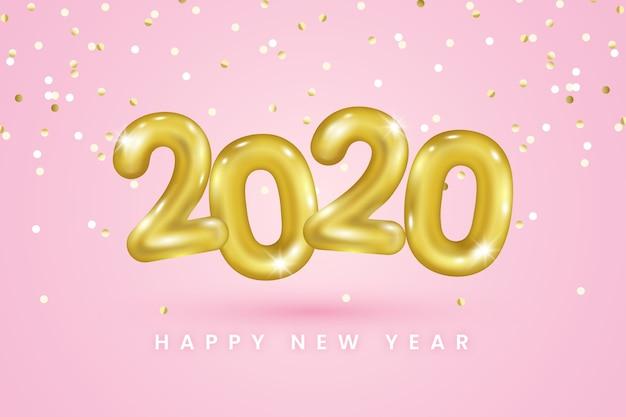 Реалистичные новогодние шары фон 2020