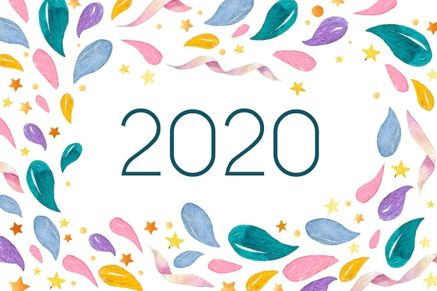 水彩新年2020年背景