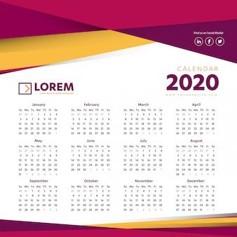 Настенный календарь 2020 красочный шаблон