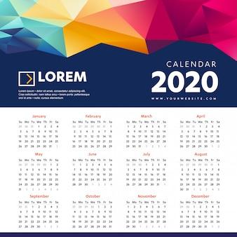 壁掛けカレンダー2020カラフルなテンプレート