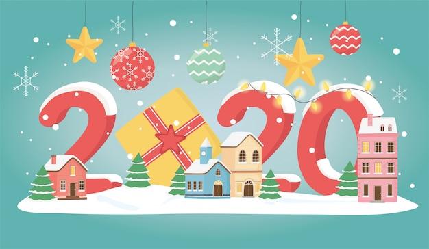 Новогодняя открытка 2020 года дома подарки шары снег дерево и звезды