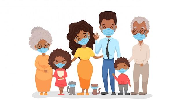 医療フェイスマスクでアフリカの黒い家族。コロナウイルス検疫2020の概念