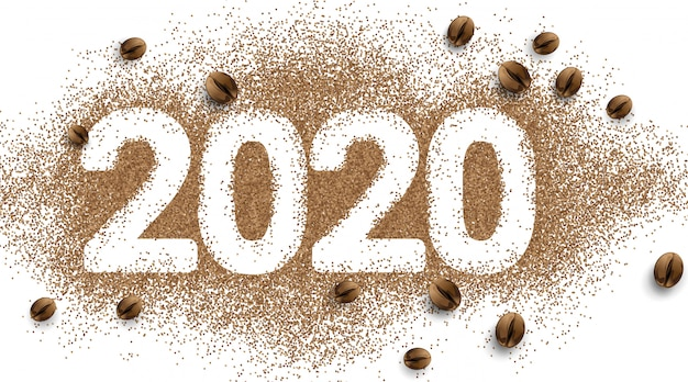 2020年のコーヒーのテキスト番号。コーヒー豆の粉。シンプル
