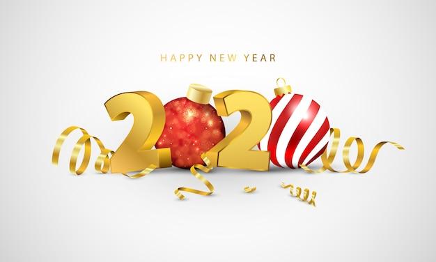 新年あけましておめでとうございます2020。金の紙吹雪とグリーティングカードのデザイン。