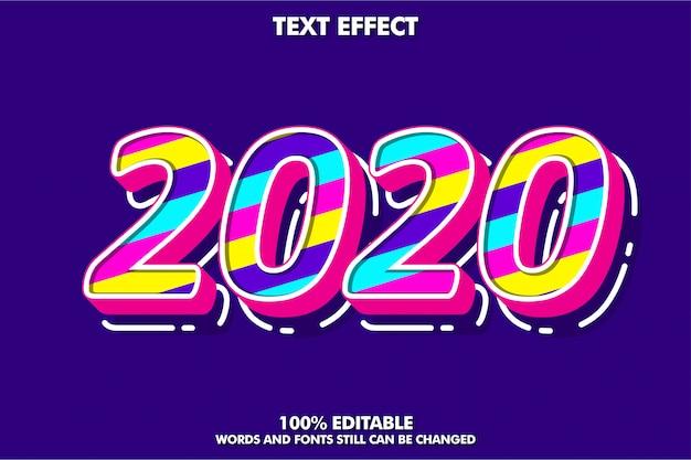 派手なポップアートテキスト効果、新年2020年バナー