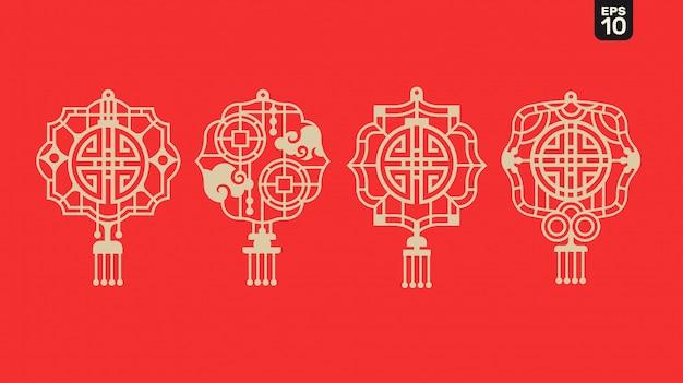 2020 счастливый китайский новый год фонаря с символом благословения и процветания и решетчатой рамкой на