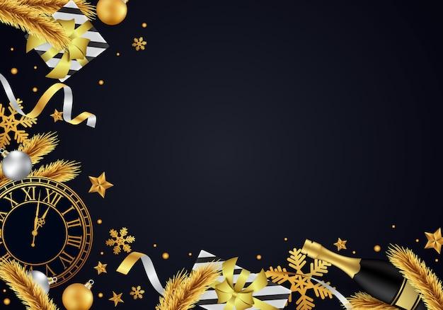 С новым годом 2020 фон, красиво украшенный золотом