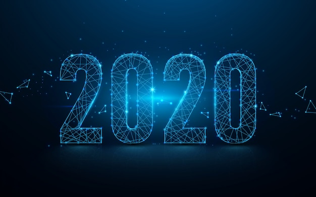 新年あけましておめでとうございます2020バナーラインと粒子の背景