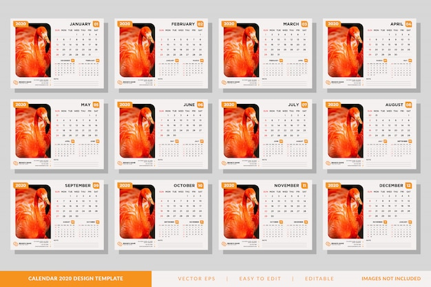 Минималистский набор шаблонов настольного календаря 2020