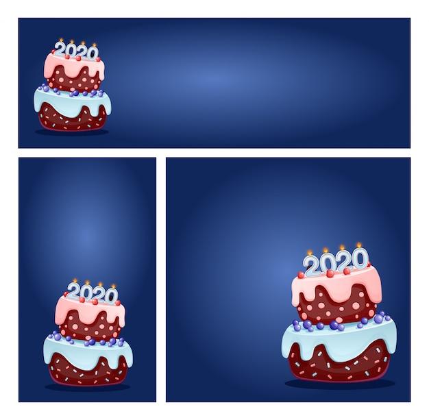 ショップやソーシャルメディアのバナーのお祝いケーキセットに2020キャンドル