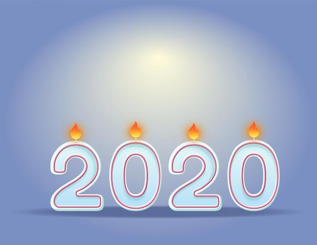 2020年キャンドル新年のお祝い水平デザインコンセプト。お祝い燃焼キャンドル