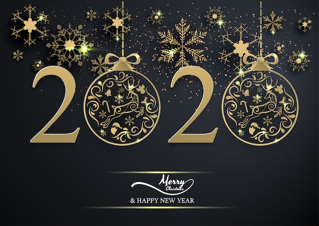 Золотая снежинка и украшения елочный шар 2020 на черном