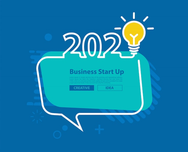 2020新年あけましておめでとうございます、創造的な電球と吹き出し