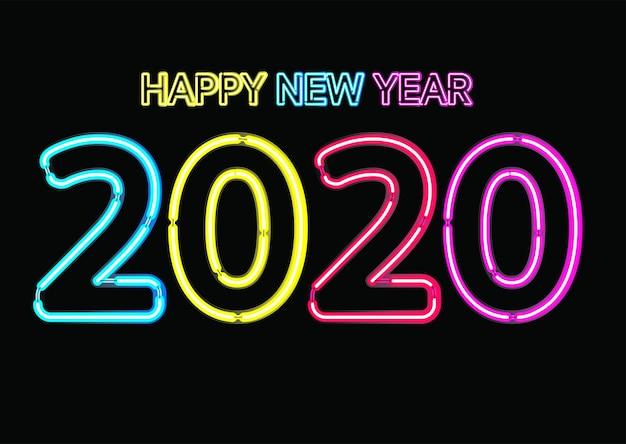 ネオンライト効果を祝う、クリスマス、新年あけましておめでとうございます2020年記念日、招待カード、背景、ラベルまたは静止したネオンピンク