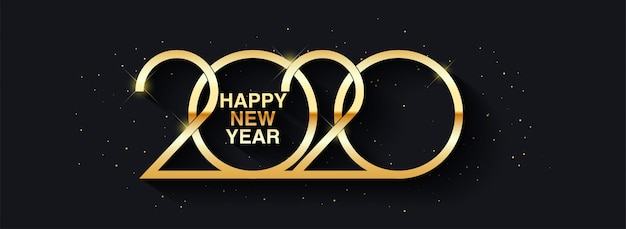 幸せな新年2020テキストデザイン挨拶イラスト黄金の数字
