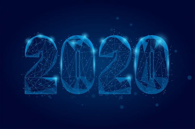 Синий абстрактный многоугольник 2020