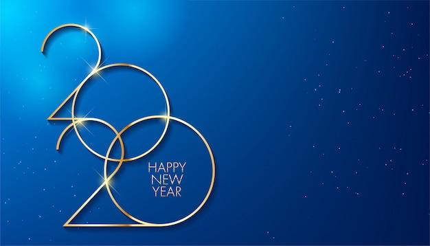 Золотая 2020 новый год. праздничный дизайн для поздравительной открытки