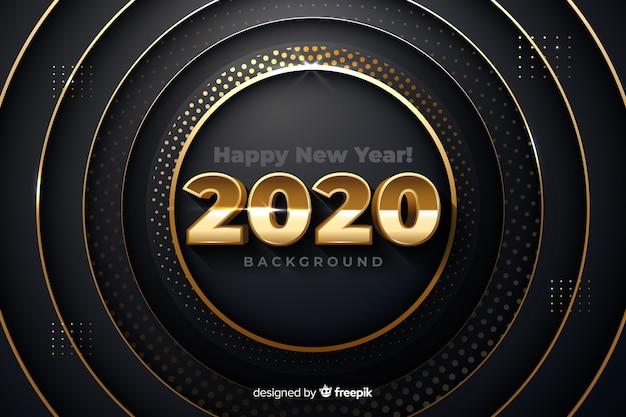 メタリックな背景に黄金の新年2020