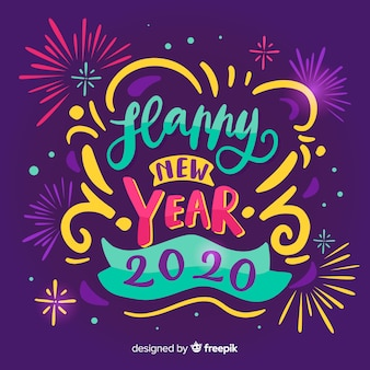 Надпись с новым годом 2020 с фейерверком