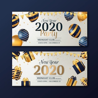 Новогодние баннеры 2020 года в плоском дизайне