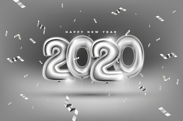 現実的な新年2020年風船背景