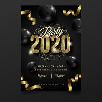 Реалистичные шаблон плаката вечеринка новый год 2020