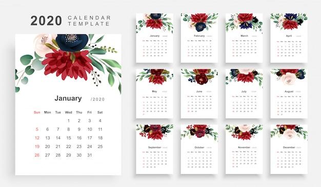 2020年の花のテーマカレンダー