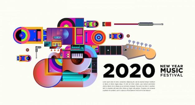 Баннер музыкального фестиваля для новогодней вечеринки и мероприятия 2020